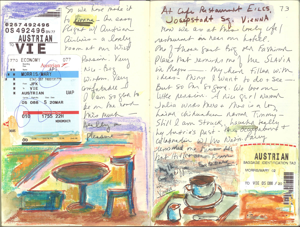 Mary Morris Journal entry from Vienna Trip